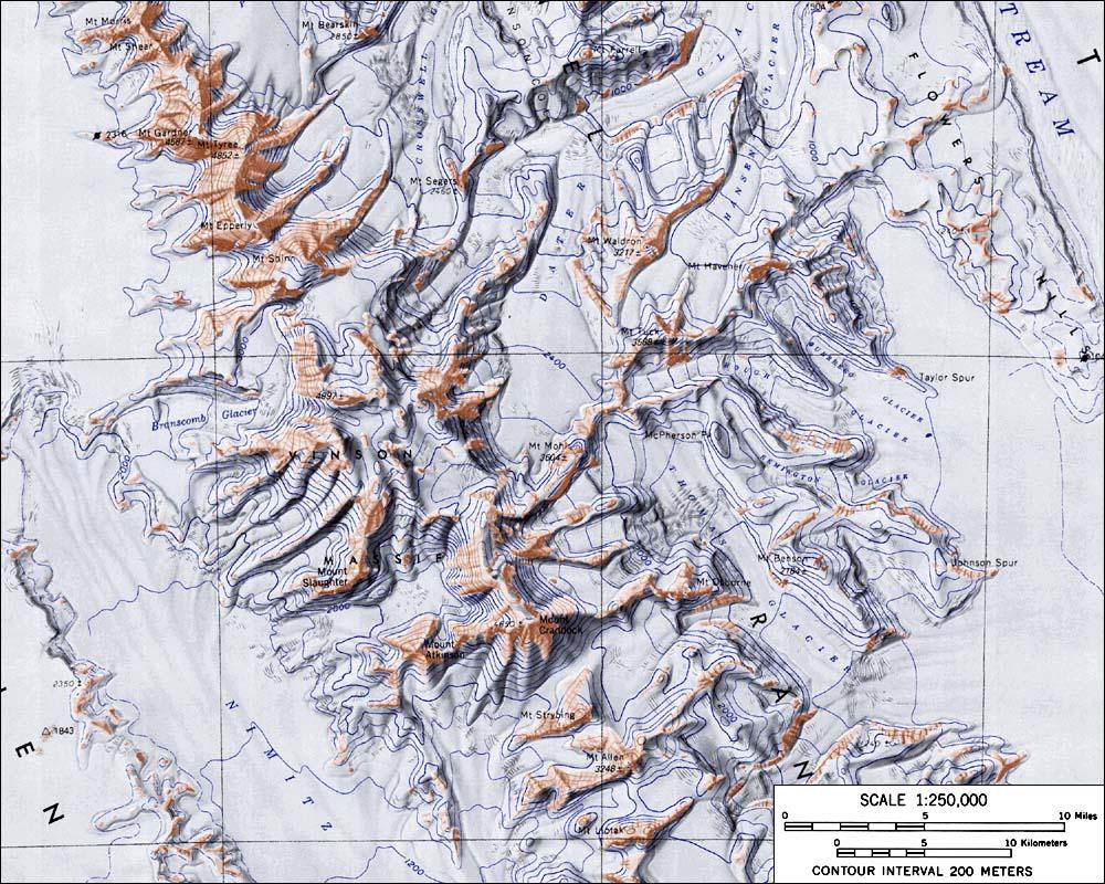 Kaart van het Vinson massief op Antarctica