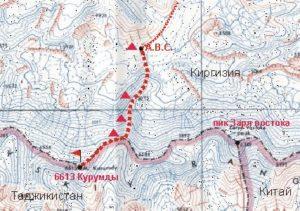 Detailkaart van Kurumdi (6.613m) en Zarya Vostoka (6.349m)