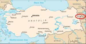 Landkaart van Turkije met Ararat in de rode cirkel