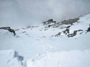 Looking down the Grand Combin south face from the top