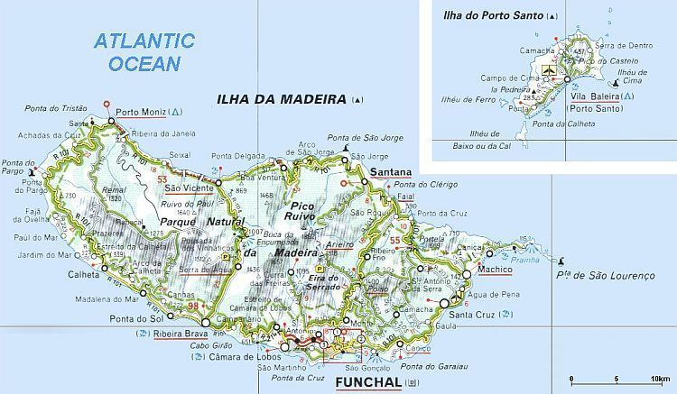 Landkaart van Madeira