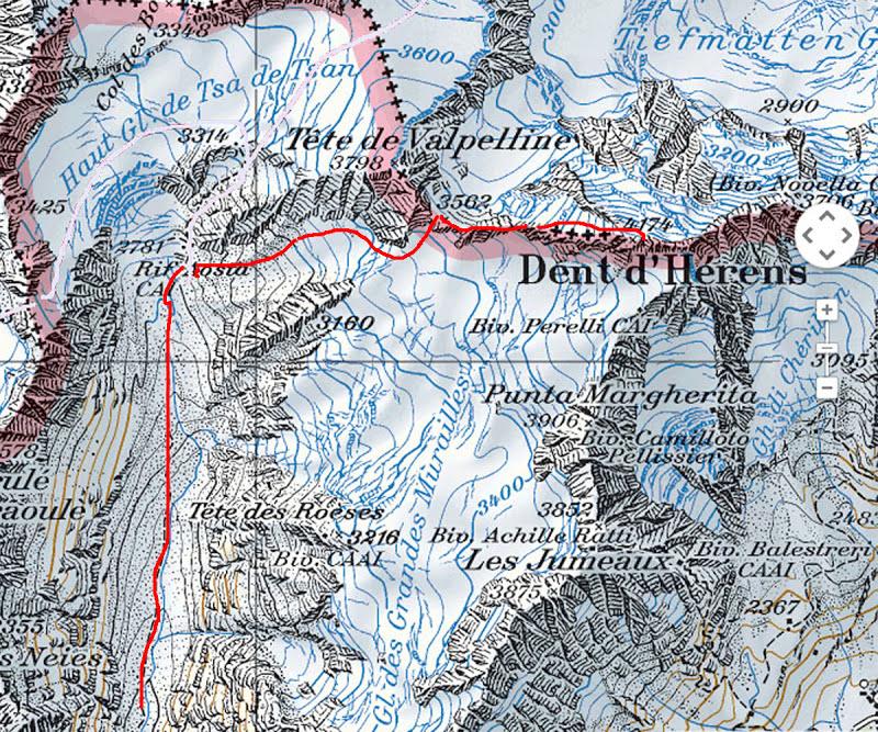 Dent d'Hérens map