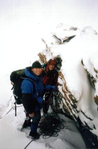 Peter-Arjen and Boris in winter conditions on the Pollux - Alps, September 2003