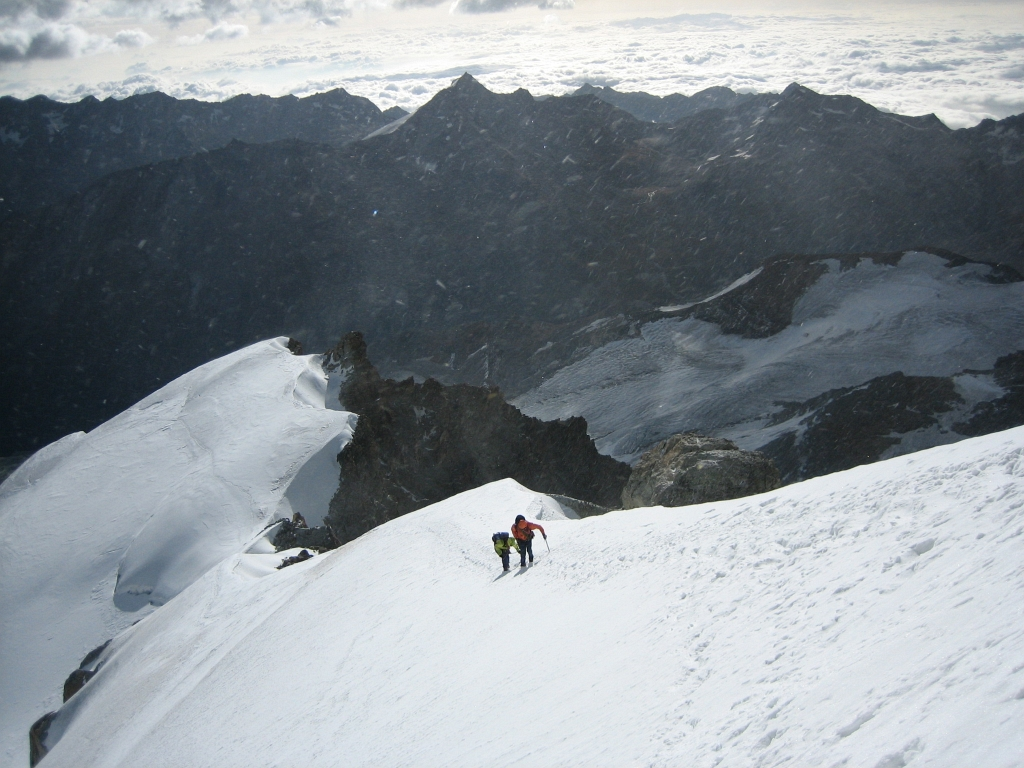 At the Allalinhorn Hohlaub ridge