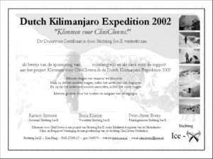 Donor certificate CliniClowns Kilimanjaro 2002