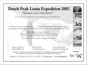 Donateurscertificaat CliniClows Peak Lenin 2002