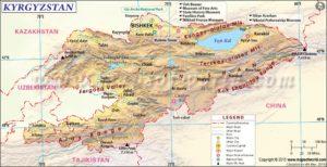 Landkaartje van Kyrgizië