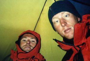 Boris (links) en Ramon in de tent op de Huayna Potosi